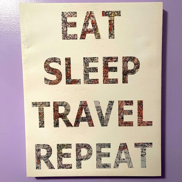 Eat Sleep Travel Repeat Wall Canvas